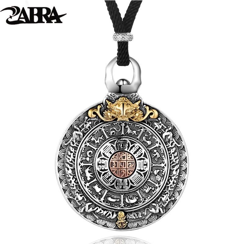 Collar redondo de Plata de Ley 925 auténtica ZABRA Religion, colgante para hombres, signos del zodiaco chino, colgantes Vintage, joyería para hombre
