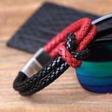 Skórzana bransoletka modna męska bransoletka skórzana dwuwarstwowa męska stal nierdzewna magnetyczny czerwony czarny naszyjnik na lince bransoletki na prezenty
