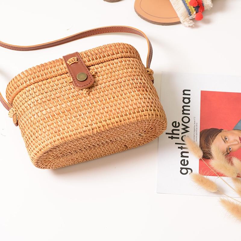 Rattan Beach Basket Bag Retro Hand-Woven Straw Crossbody Bag Pu Strap Box Shape Small Handbags Nurse Bag