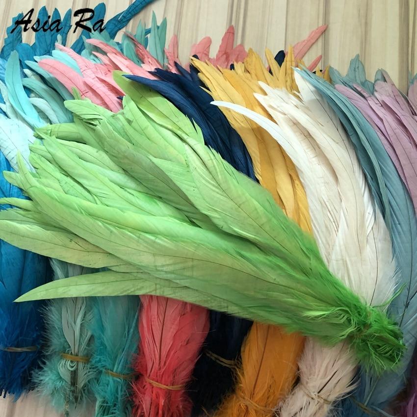 Fábrica de Asia Ra al por mayor 500 unids/lote de longitud 25-30cm 10-12 pulgadas teñido de manzana verde Gallo coque hecho a mano plumas de la cola plumas de gallo