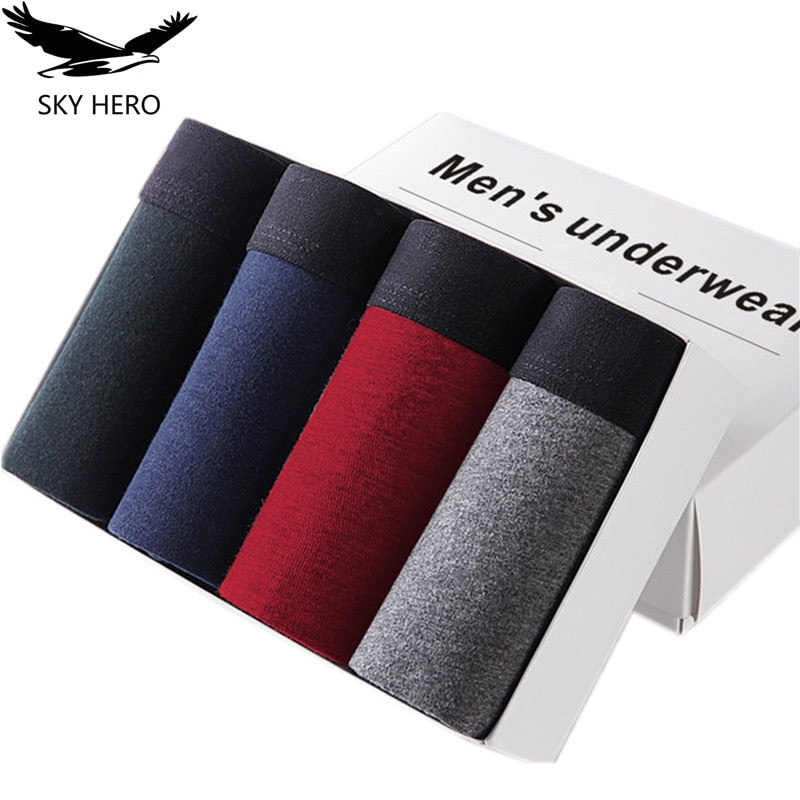 4pcs/lot SKYHERO Male Panties Cotton Men's Underwear Boxers Breathable Man Boxer Solid Underpants Co