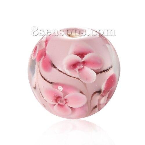 (Hecho a mano) cuentas de cristal sueltas redondas de flores rosadas transparentes de 16mm de diámetro, alrededor de agujero: 2,3mm-2,7mm, 1 ud.