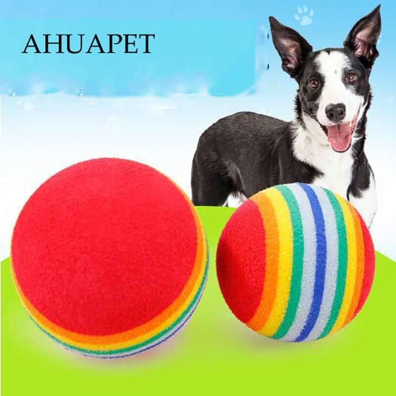 Bola productos para mascota Arco Iris juguetes para perros actividad juguete lanzador Gato gatito espuma suave EVA bolas Golf práctica Molar diente masticar E