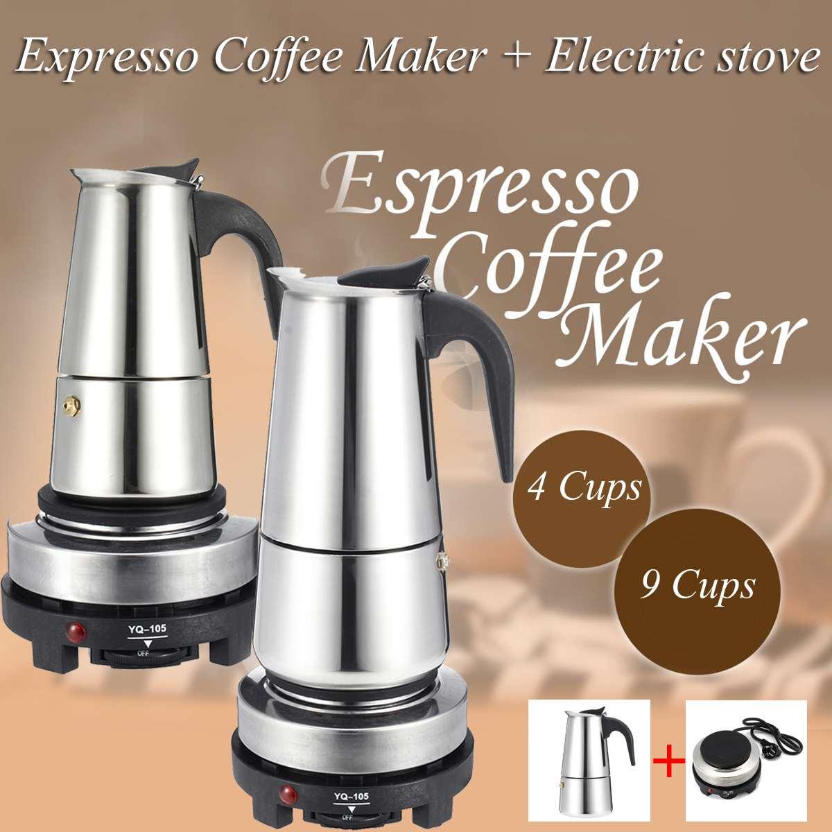 200/450 مللي ماكينة صنع قهوة اسبريسو براد لصنع الموكا الفولاذ المقاوم للصدأ مع موقد كهربائي تصفية Percolator القهوة بروير غلاية وعاء