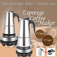 200/450ml cafetière expresso Portable Moka Pot en acier inoxydable avec cuisinière électrique filtre percolateur cafetière cafetière bouilloire