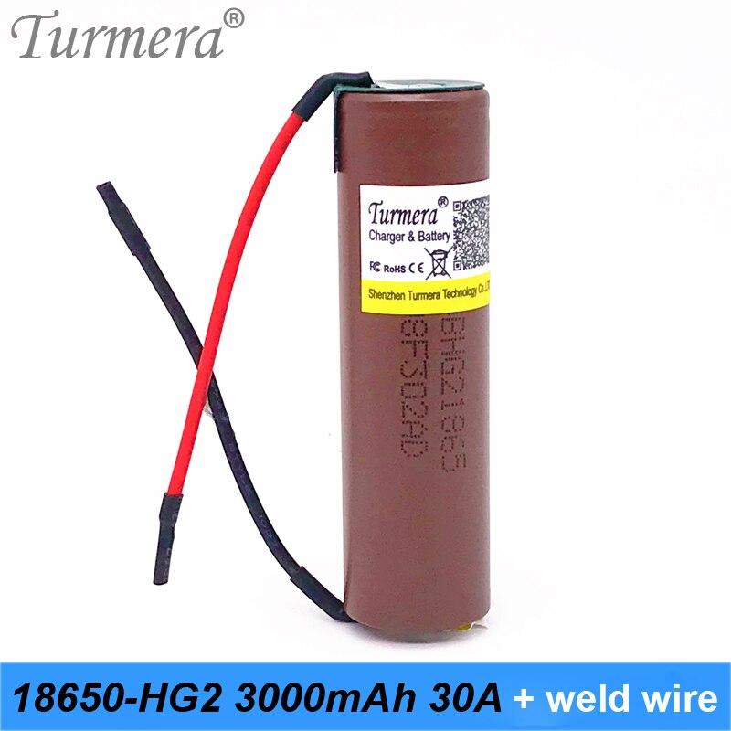 18650 hg2 3000 mah da bateria 3.6 v 30a alta corrente de descarga para shura bateria ferramenta chave de fenda + arame de solda