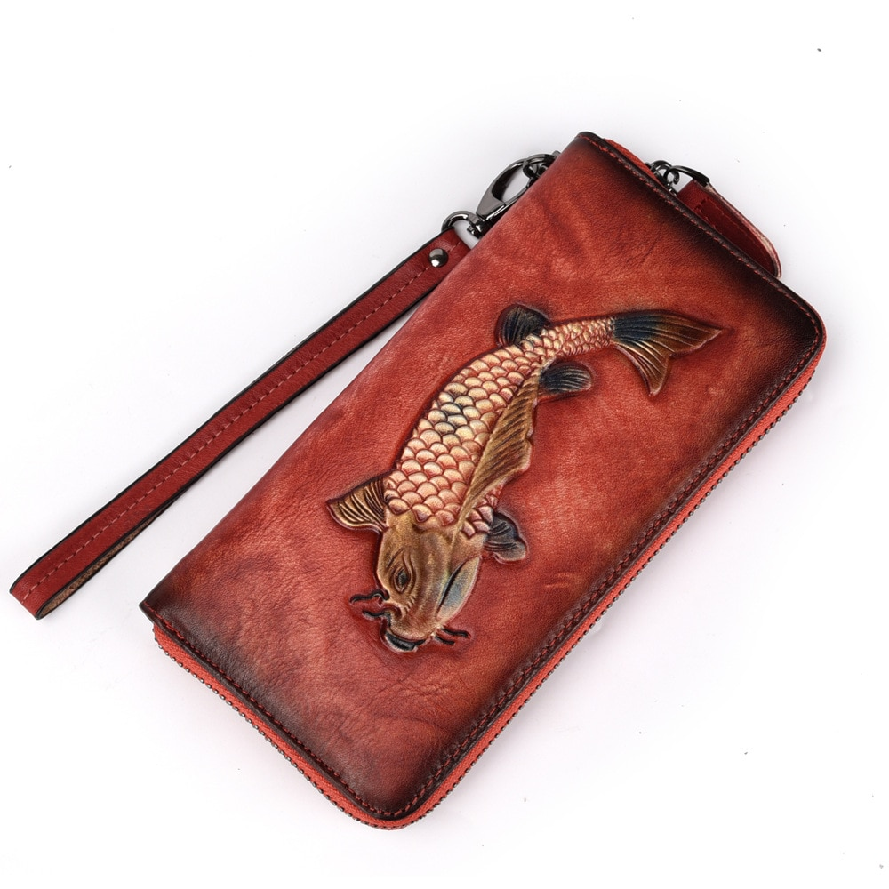 Natural de la piel de las mujeres embrague monedero ID/tarjetas de crédito cepillo mano bolsa de alta calidad de la muñeca de la cremallera de mujer de cuero genuino de tiempo cartera