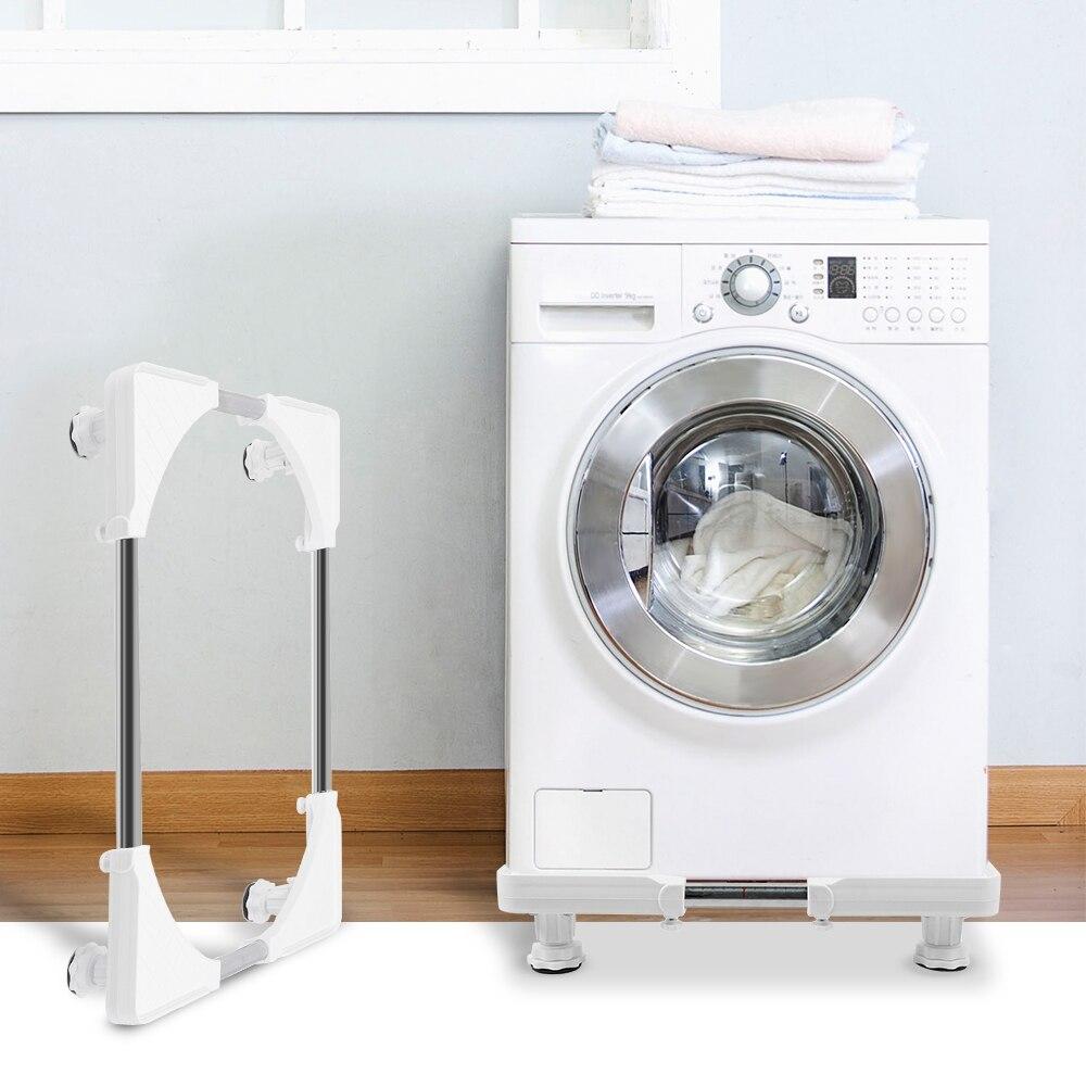 Soporte fijo para lavadora, soporte básico para lavadora, estante rígido para nevera (4 Patas de fijación) blanco