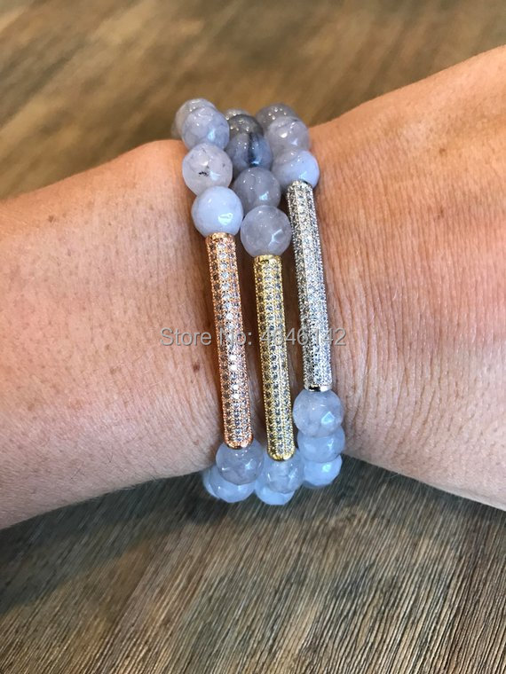 Bohemian Faceted Gray Agates Beaded Pave Bar CZ Spacer Beaded Boho Stretch Stack Bracelet