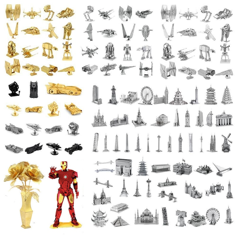 Rompecabezas de Metal 3D Iron Man Star Wars tanques modelo Marvel corte láser Manual Jigsaw Kits figuras de acción de juguete adultos niño regalo de Navidad