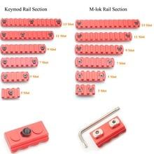 Aplus 3/5/7/9/11/13 Slot Ferroviarie Segmento Per Keymod/M -lok Handguard Picatinny/Supporto Del Tessitore Adapter_Red Anodizzato