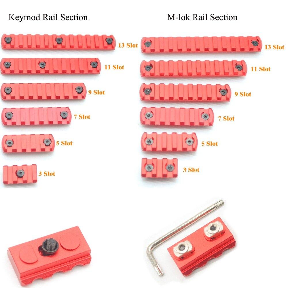 Segmento de secciones de carril de ranuras Aplus 3/5/7/9/11/13 para Keymod/m-lok Handguard Picatinny/Weaver montaje Adapter_Red anodizado
