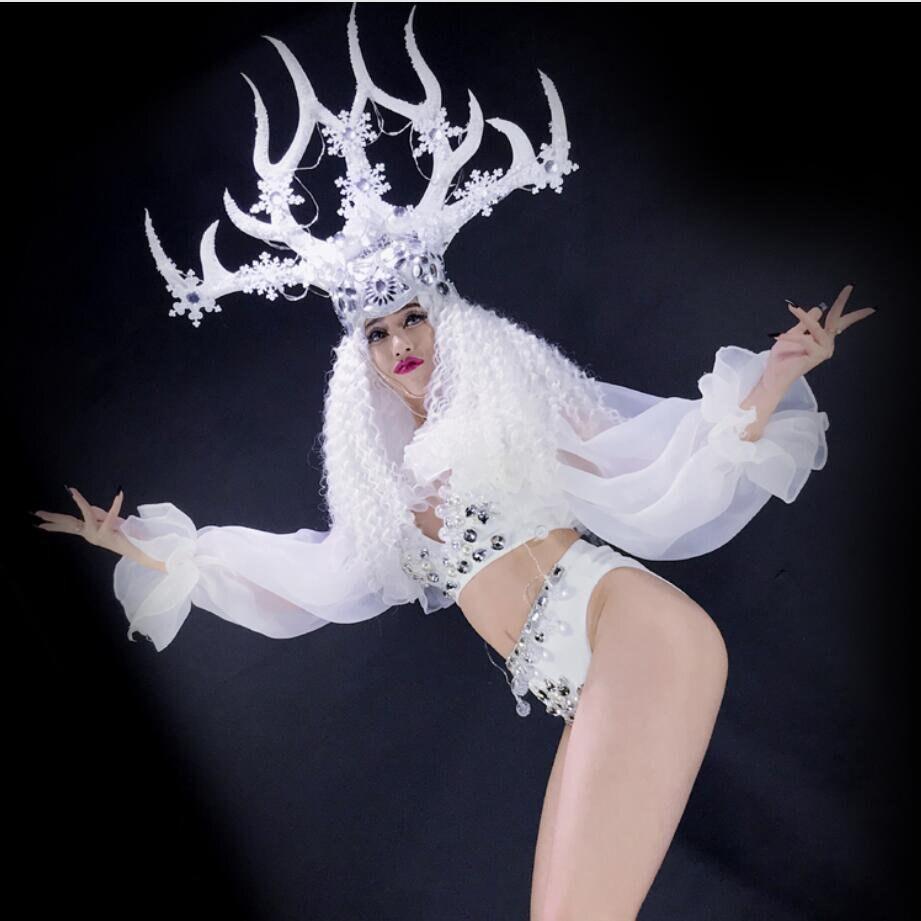 Blanc noël danse fleurs chapeau lumière led costumes femme led bois performance costume
