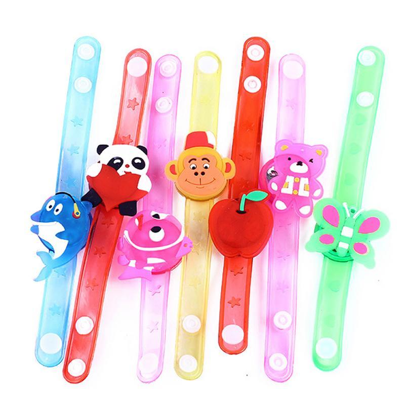 Lindo Flexible envoltura SLAP pulsera de animales pulsera niños pulsera con dibujos animados brillante Flash pulsera regalo de los niños
