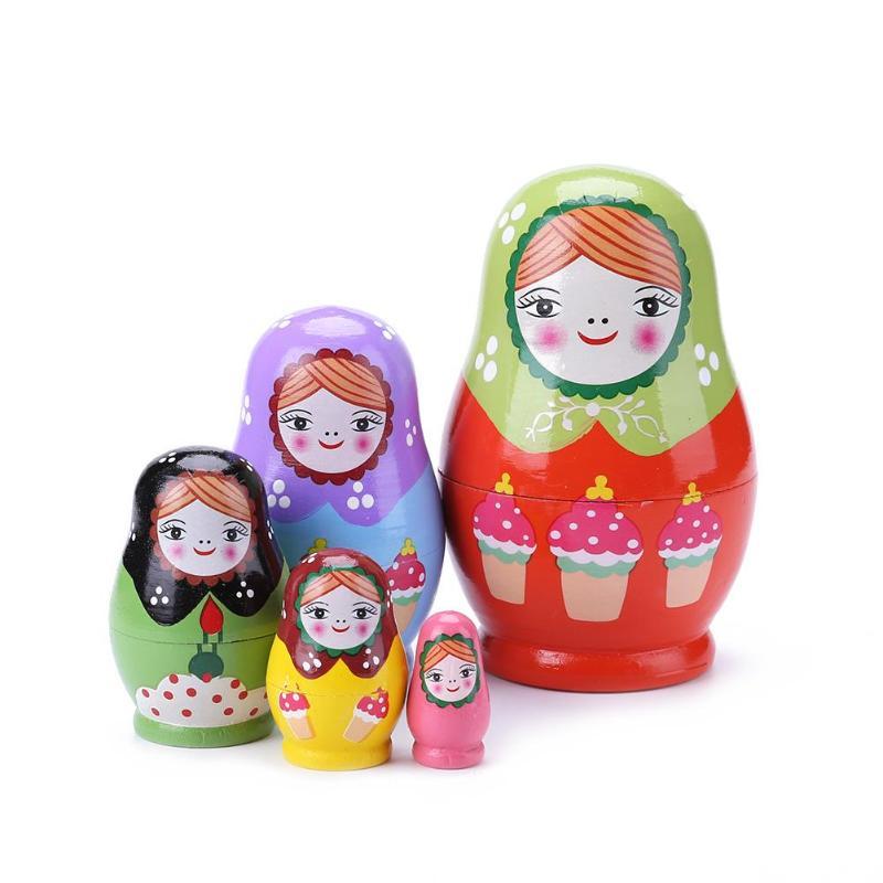 Muñecas rusas de madera Matryoshka para niños, manualidades de arte Hecho A Mano DIY, conjunto de muñecas rusas anidadas, pintura para hornear para bebés, adorno para el hogar
