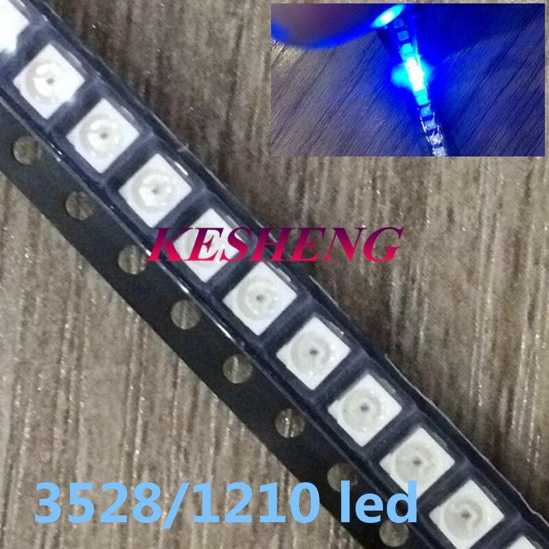 100 unids/lote 1210 3528 SMD LED, diodo de luz azul Ultra brillante 470-475NM 3,0-3,6 V, Chip de lámpara led de alta iluminación