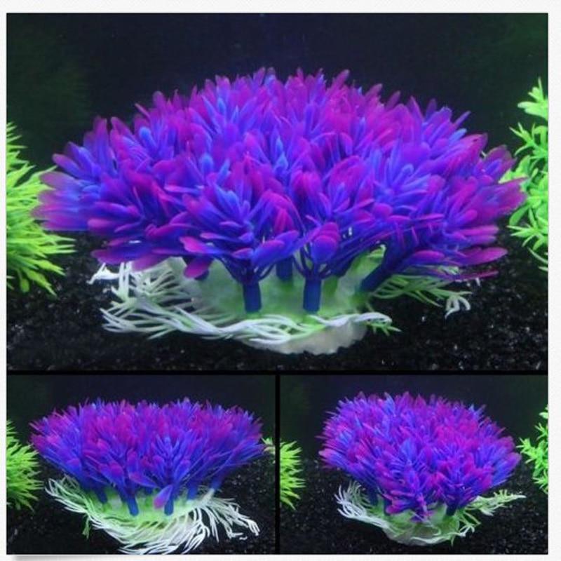 Aquarium Aquarium Künstlichen Pflanzen Ornamente Kunststoff Landschaftsbau Aquatic Pet Käfig Haus Dekorationen Liefert Lila