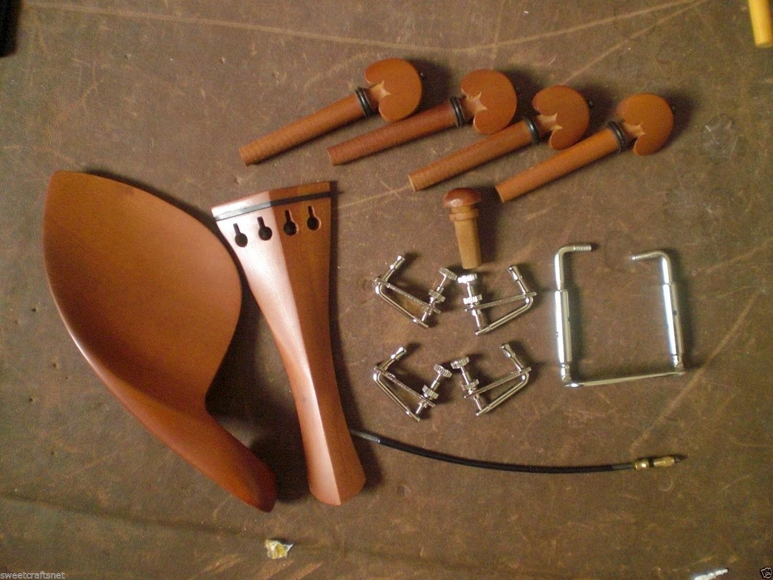 Фитинг для скрипки JUJUBE 4/4 с (серебристым) винтом, хвостовой кишкой, тонким тюнером (серебряный цвет)