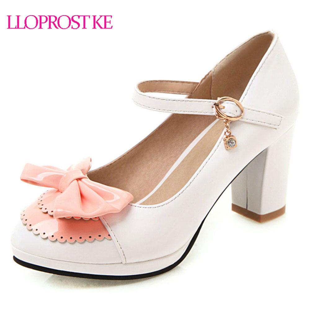Lloprost ke Women High Heel Shoes Round toe Bowtie Platform Pumps Solid Color Basic Pumps Ankle Strap High Heel Shoes Woman H207