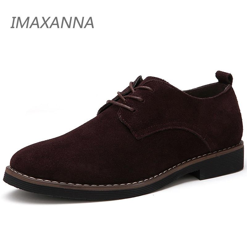 IMAXANNA גברים נעליים יומיומיות גברים אמיתי עור נעלי אביב גברים דירות תחרה עד זכר זמש נעלי אוקספורד נעלי גדול גודל 48 Dropshipping