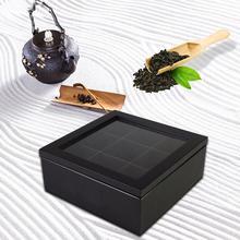 2 вида цветов 9 сеток деревянная чайная коробка кухонный Органайзер прозрачная стеклянная верхняя крышка чайные пакетики Контейнер Коробка...
