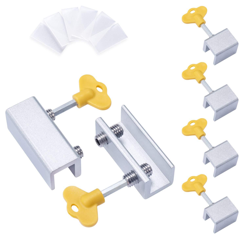 6 Pieces Adjustable Sliding Window Locks Stops Aluminum Alloy Door Frame Security Lock With Keys (4Single Hole And 2Double Hole)
