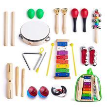 캐리 백이있는 유아를위한 악기, 실로폰, 리듬 밴드가있는 어린이를위한 1 개의 음악 타악기 장난감 세트 12 개