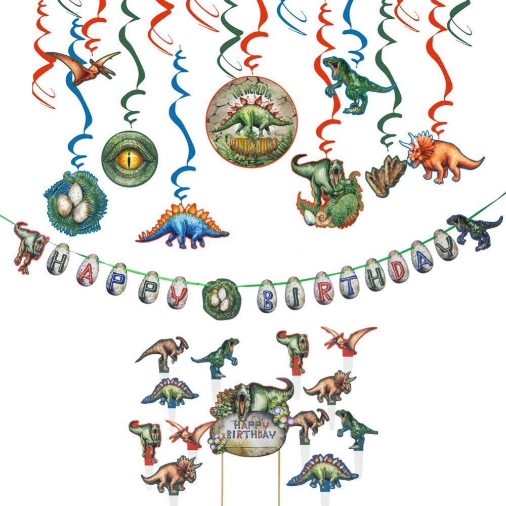 Juego de decoración de fiesta de cumpleaños de dinosaurio colgante remolino Decoración de Pastel Topper Kit Cupcake Topper Feliz cumpleaños Banner dinosaurio fiesta