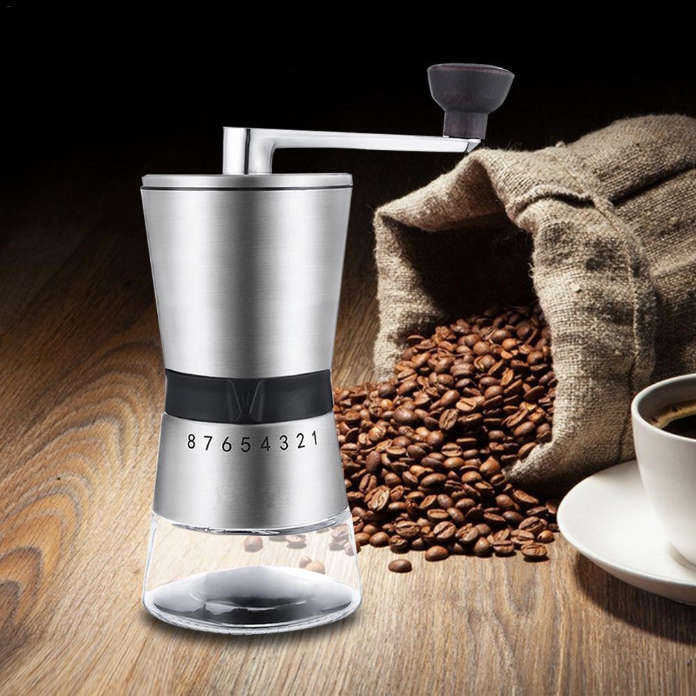 Мини Руководство керамическая кофемолка Нержавеющая сталь Регулируемый кофе мельница с хранения резиновая петля легко очистки