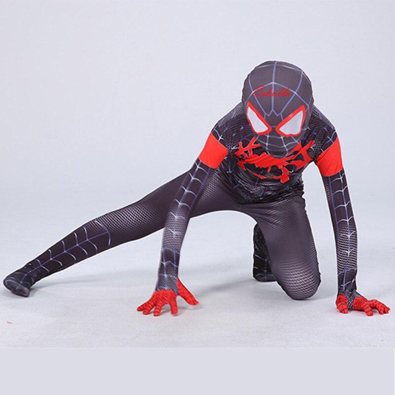 Eskulla niños adultos araña-Hombre Araña-verso Miles moral Cosplay disfraz Zentai Spiderman patrón mono monos