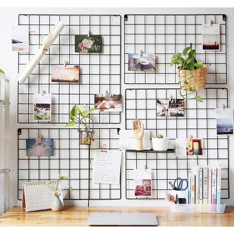 DIY Grid Photo Wall,Multifunction Wall Mounted Ins Mesh Display Panel,Wall Art Display Organizer,Memo Board square decor shelf