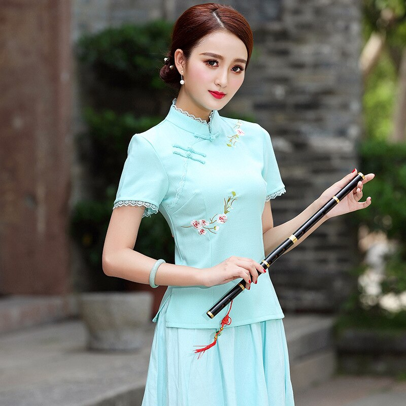 Blusa tradicional china SHENG COCO para mujer, Qipao, blusa de verano de manga corta, blusa Cheongsam bordada, ropa china