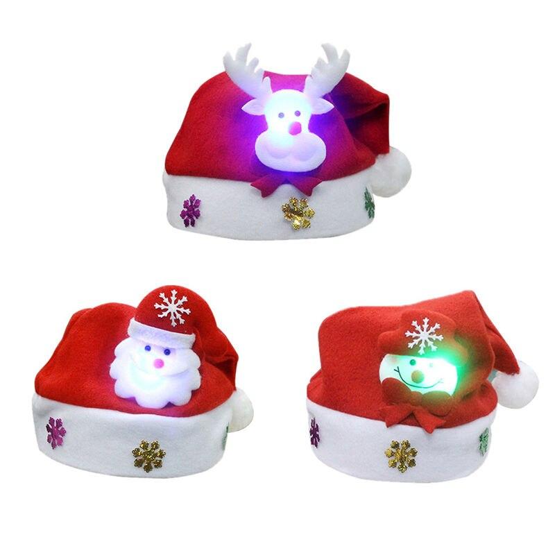 Niños adultos LED Navidad sombrero Santa Claus Reno muñeco de nieve regalos de navidad gorra