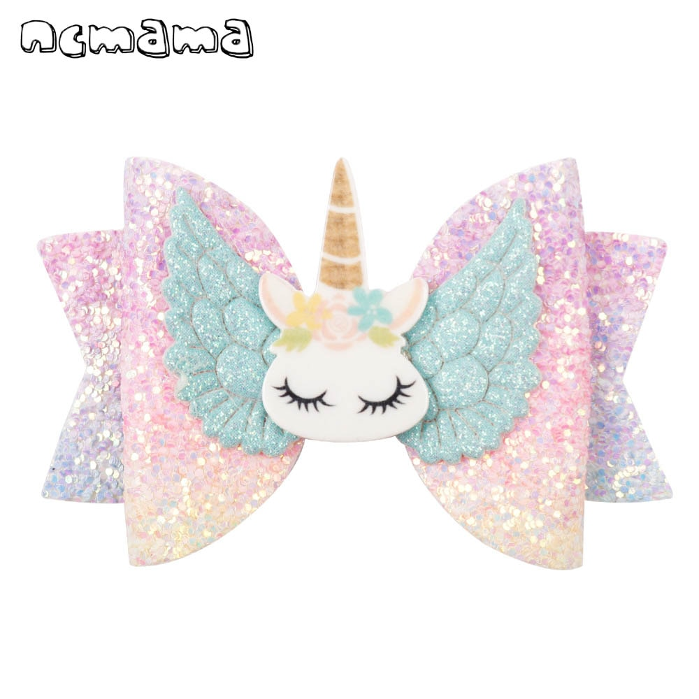 ncmama Hair Accessories Bows for Girls Glitter Unicorn Clips 3inch Hairpin Princess Hairgrips Kids