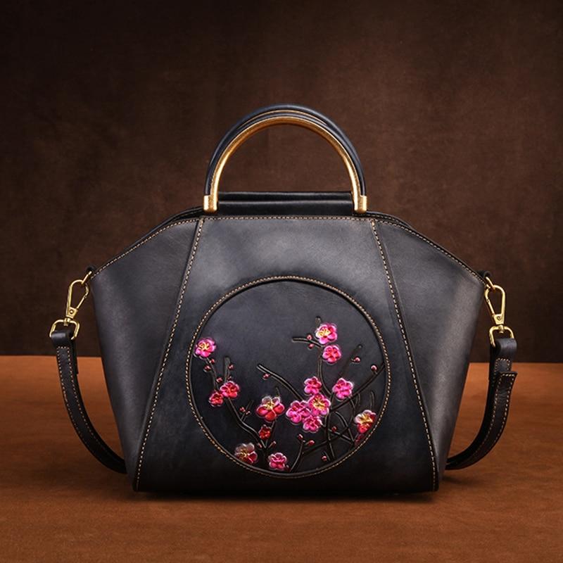 Bolsos de hombro de cuero genuino para mujer, bolso de mano de piel de vaca de lujo Retro multicapacidad con patrón de flor de ciruela