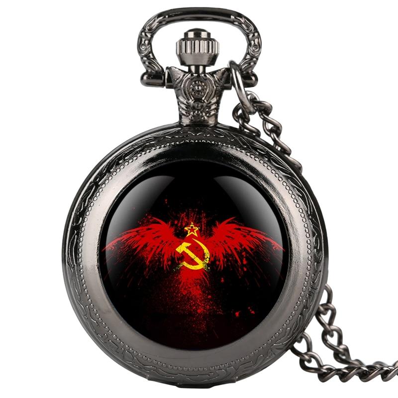 Emblema de la URSS insignias rusas martillo hoz reloj de bolsillo para hombres Retro del ejército ruso CCCP comunista collar reloj cadena regalos de recuerdo
