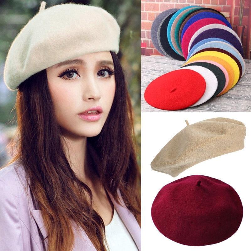 Elegant Lady Women Bonnet Cap Solid Color Wool Felt Berets Winter Spring French Classic Wool Hat Com
