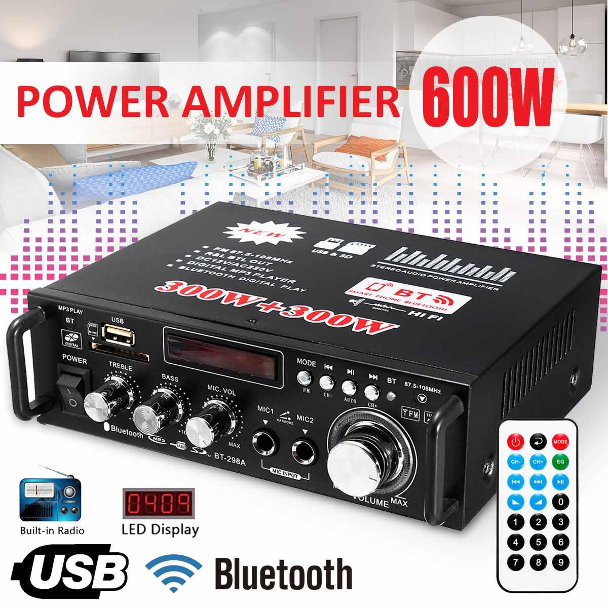 12V 220V 2CH 600W pantalla LCD Digital HIFI Audio amplificador de potencia bluetooth FM Radio coche hogar Subwoofer estéreo con Control remoto