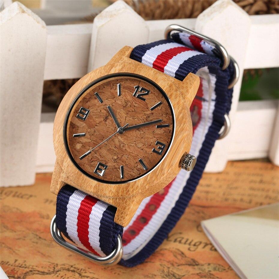 Creative Womens Wooden Watch Nylon Watch Band Crack Pattern Quartz Watch Pin Buckle Hot Fashion Wrist Watch Lady Clock New 2019