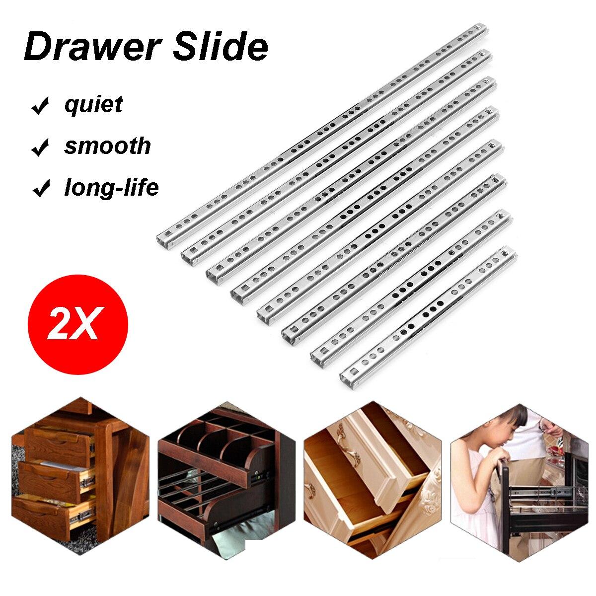 "2Pcs 8""-16"" Ball Bearing Drawer Slides Steel Ball Bearing Slides Keyboard Cabinet Runners Cupboard Drawer For Furniture Slide"