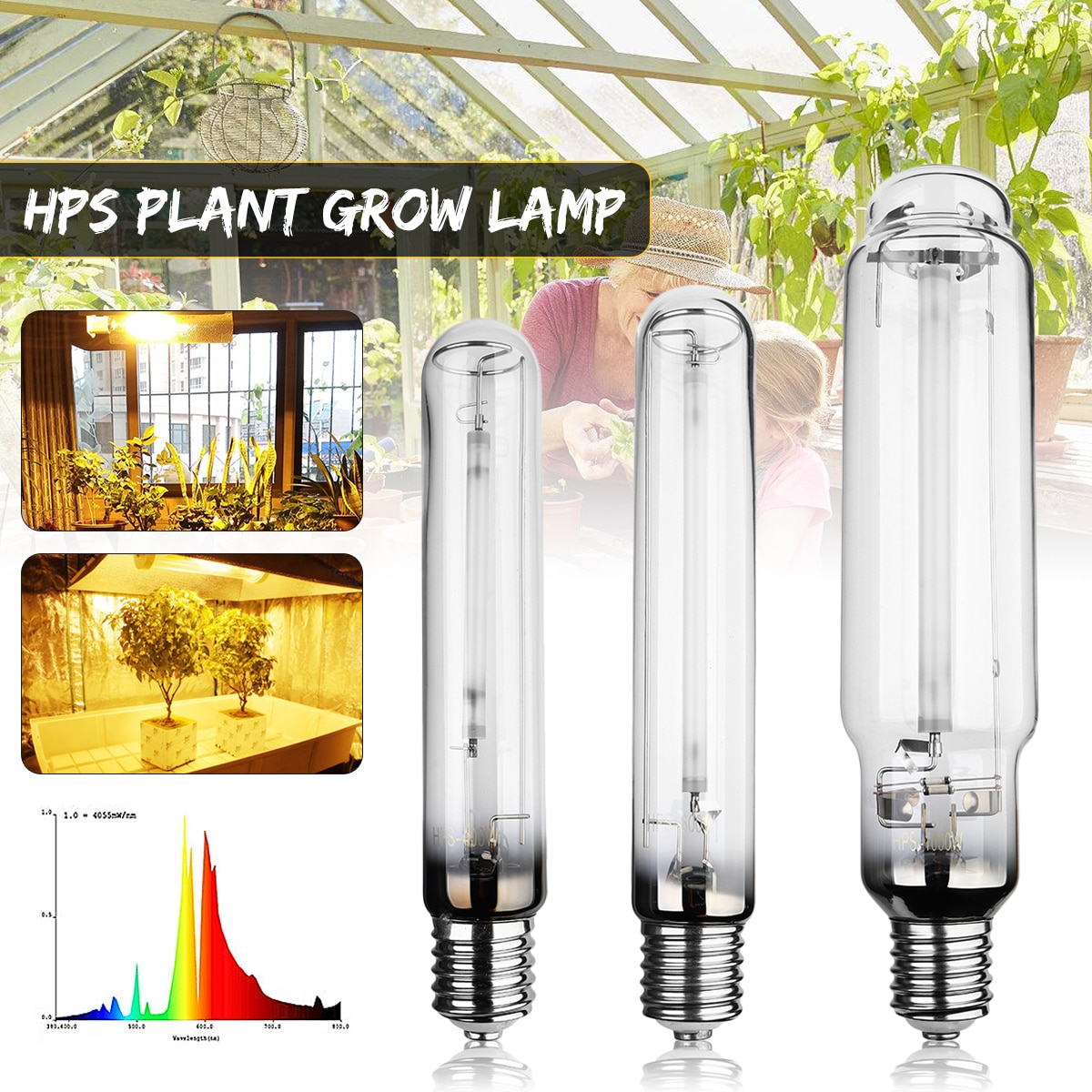 400W 600W 1000W Smuxi E40 23Ra HPS Plant Grow Lamp High Pressure Sodium Lamp Energy Efficient Long Service Life 23000 Hours