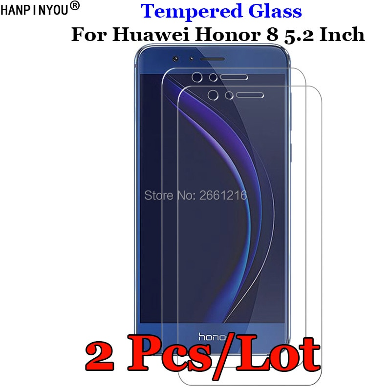 "2 unids/lote para Huawei Honor 8 Honor8 5,2 ""de vidrio templado 9H 2.5D Premium película protectora de pantalla de teléfono"