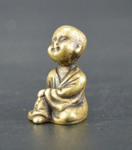 Chino vieja colección trabajo manual bronce pequeño monje el budismo estatuas