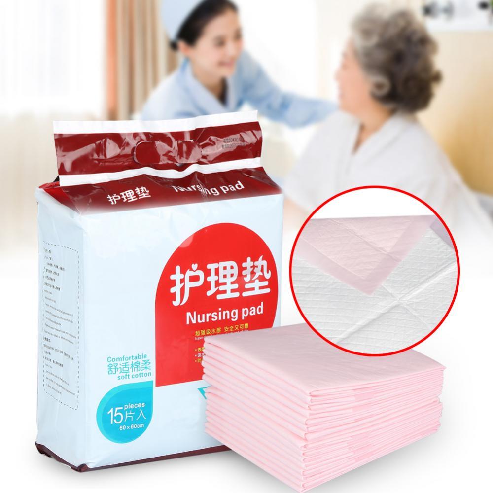 2 Colors 15PCS/Bag  Disposable Underpad Adult Senior Nursing Urinary Incontinence Urine Pad 60x60cm Makeup Tool Kit
