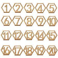 1-20 numery znaki drewniane ślub sześciokąt numer stołu drewniany stół numery rustykalne ślub zaręczyny numery miejsc znak