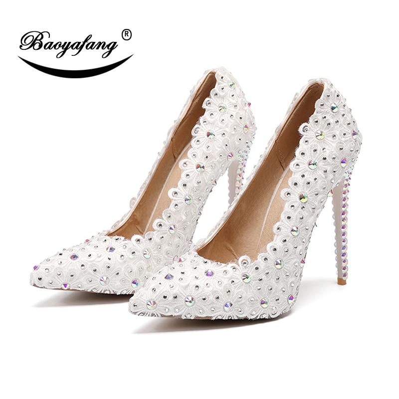 Zapatos de tacón alto a la moda de 11cm de BaoYaFang, zapatos de boda de flores blancas con punta puntiaguda, tacón fino de cristal, tacones de salón para mujer, zapatos de fiesta