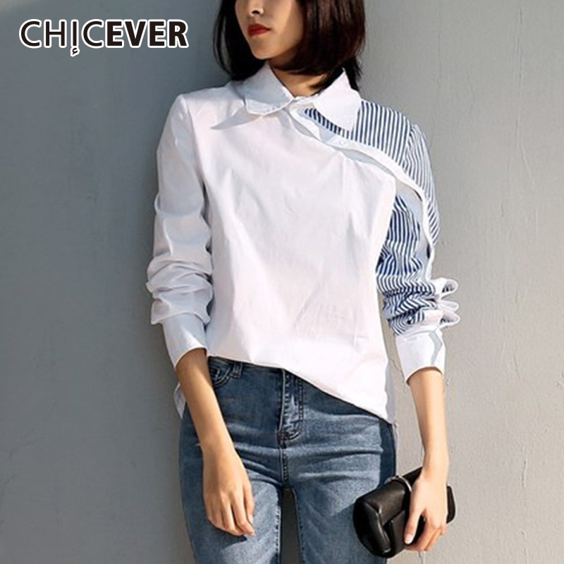 Blusas CHICEVER primavera otoño almazuela de rayas para mujer, blusas de manga larga con solapa, diseño Irregular, blusa blanca, ropa de moda
