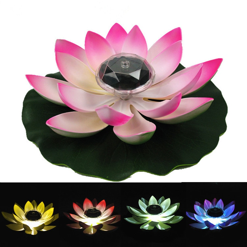 Outdoor Solar Powered LED Lotus Flower Lamp Water Resistant  Floating Pond Night-Light For Garden Party Garden Decoration