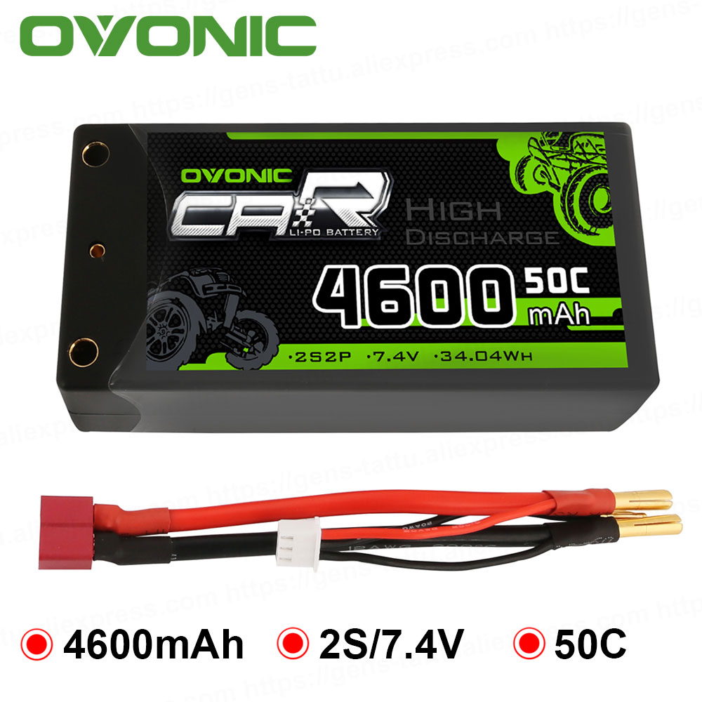Ovonic 2S Shorty Lipo 7,4 V 50C 2300mAh funda de batería Lipo con 4mm bala decanos Ultra conector de clavija para RC escala 1/10 Vehicl