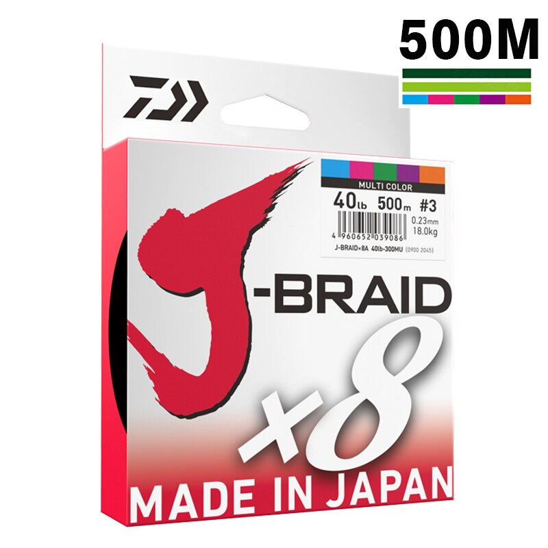DAIWA 8 Braided Fishing Line - Length:500m/550yds, 30-80lb, Diameter:0.2mm-0.35mm Japan PE braided line J-Braid Line SEA FISHING